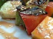 Brochetas verdura salsa agridulce