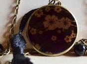 Collar Locket flor negra
