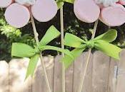 Brochetas chuches: Tutorial flores rosas nubes