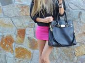 Fluor pink mini skirt