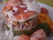 Ensalada tibia atun, langostinos salmon salsa eneldo