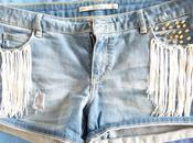 DIY: Short denim tachas flecos