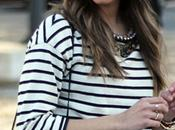 Pleated Skirt Striped Shirt