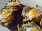 Montadito alcachofas foie huevo codorniz