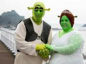 pareja disfrazó Shrek Fiona para casarse