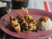 Brochetas pollo Gourmet Garden fideos arroz