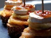 Pintxo: tempura tomate calabacín queso cabra cebolla caramelizada reducción pedro ximénez
