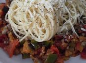 Pisto malagueño ternera espaghettis