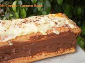 Milhojas relleno crema chocolate cobertura naranja