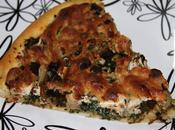 Pizza espinacas setas masa casera vino