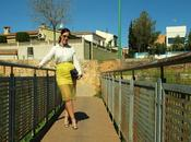 Yellow skirt with silver sandals