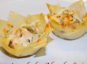 Tartaletas pasta filo puerro champiñón gambas