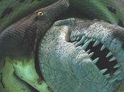 Antiguo cocodrilo desgarró tortugas serpientes monstruosa lucha