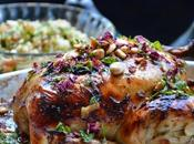 """Pollo """"estilo Árabe"""" Hierbabuena, Pétalos Rosa Almendras"""