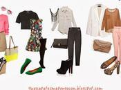 zapatos pongo pantalon rosado, falda beige, vestido floreado, plomo accesorios