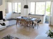 Suelo parquet espiga, piedra caliza muebles diseño Malmö