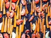 Sopa tomates zanahorias asadas tarteletas hinojo coco gluten