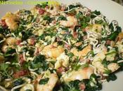 Revuelto espinacas gulas, langostinos jamón serrano