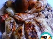 Asado pollo cebolletas