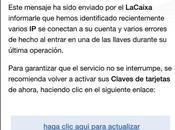 Detectado correo spam Caixa informando conexiones autorizadas cuenta