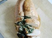 Pechuga pollo rellena espinacas, queso crema nueces