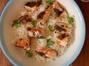 Salmón verde, arroz coco.