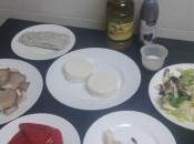 Ensalada templada pimientos piquillo, setas, gulas queso cabra