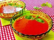 Sopa fría tomate albahaca