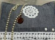 Almohadón tela jean crochet