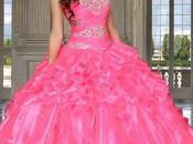 Vestidos vaporosos elegantes para fiesta rosada quinceañera