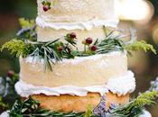 "Simple ""naked"" wedding cakes."