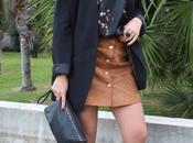 Oversized jacket suede skirt