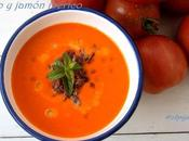 Sopa tomate, queso jamón ibérico