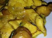 Pechuga pollo salsa manzana castañas asadas