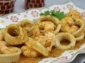 Calamares salsa langostinos