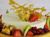 Tarta mousse chocolate blanco frutas exóticas. #retonoviembreCookingtheChef