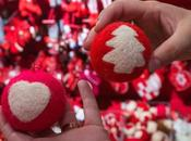 Decoremos bolas Navidad lana cardada