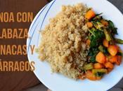 Quinoa calabaza, espinacas espárragos