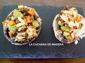 Champiñones rellenos verduras quinoa
