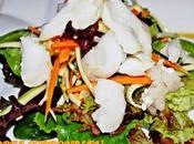 Ideas entrantes primer plato para menú valentín. ensalada bacalao confitado vainilla ajo.