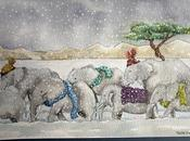 Lámina Elefantes bufanda
