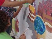 Pintan mural Mercado Hidalgo