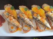 Mini-tostas naranja sardinas picantonas