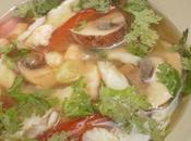 Sopa miso pescado, langostinos champiñones portobello