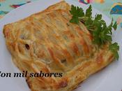 Kulibiak merluza champiñones, cebolla caramelizada piquillos