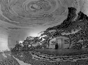 dibujo blanco negro grados paisaje japonés dentro cúpula hinchable