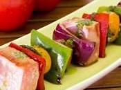 Brocheta atún verduras