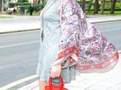 Vestido encaje kimono seda