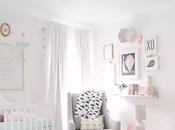 Rosa, gris, coral mint cuarto bebé lleno estilo buen gusto!