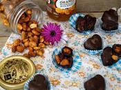 Bombones rellenos mermelada, arandanos cacahuetes caramelizados